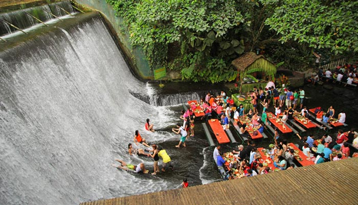 Unusual restaurant waterfall Philippines
