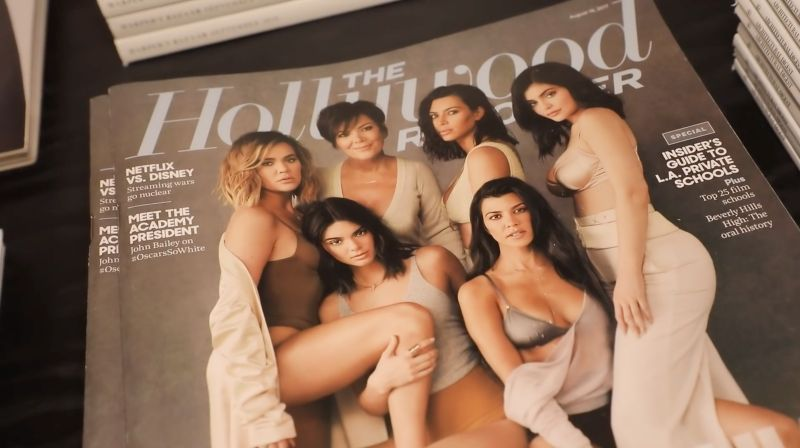 Kardashian Jenner featured magazines at Kylie Cosmetics office.